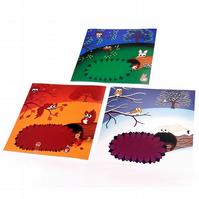 "Set of 3 8"" Seasonal Cute Animal Prints. Autumn, winter and spring landscapes"