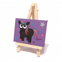 Black Unicorn Mini Painting - cute original art on miniature canvas with easel
