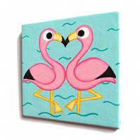 Flamingos in Love Fridge Magnet - original acrylic pink birds painting
