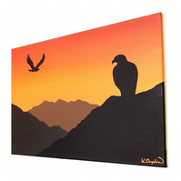 Eagles at Sunset Original Acrylic Painting - silhouette scene with orange sky