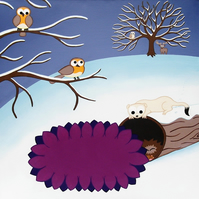 "Winter Animals 12"" Print - cute landscape nursery art with cartoon robins"