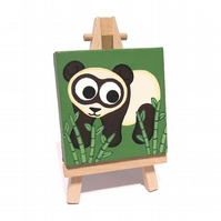 Cute Panda Miniature Painting - cartoon bear acrylic art, mini canvas with easel