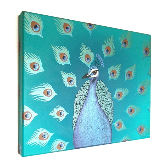 Original Peacock Painting on Canvas - colourful bird art with metallic detail
