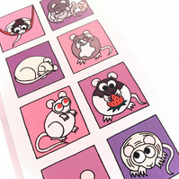 Cute Rats Card - blank inside - pink and purple card with cartoon rodents