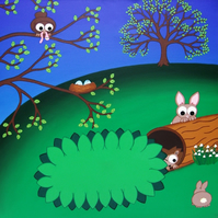 "Spring Animals 12"" Print - cute landscape art with cartoon rabbits"