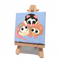 Rat Pile Mini Painting - cute rodents original acrylic art on miniature canvas