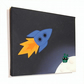 Rocket to the Moon Nursery Art - cute space scene original acrylic painting