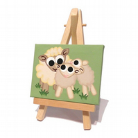Sheep and Lambs Miniature Painting - cute original animal art on mini canvas