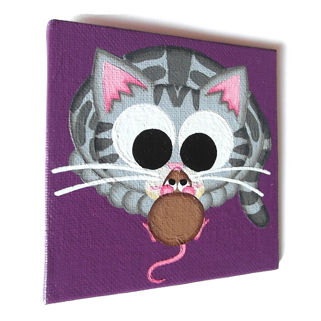 Cat and Mouse Fridge Magnet - original acrylic art of cute silver tabby cat