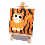 Tiger Cat Mini Canvas - cute ginger cat on mini canvas with easel