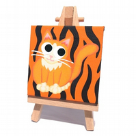 Tiger Cat Mini Canvas - acrylic painting of a cute ginger cat on tiger stripes