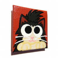 Fluffy Black and White Cat Fridge Magnet
