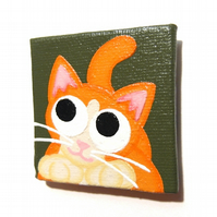 Cute Ginger Cat Fridge Magnet - original acrylic painting of cartoon cat