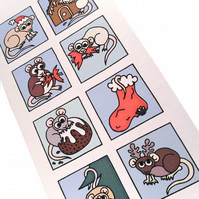 Cute Rats Christmas Card - cartoon rodents in seasonal scenes, blank. CT-XRB