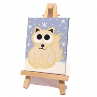 Arctic Fox Mini Canvas and Easel - original acrylic painting of a cute white fox