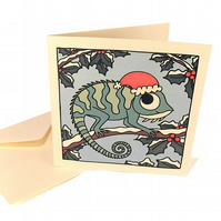 Cute Chameleon Christmas Card - square card with cartoon reptile. CQ-XCH