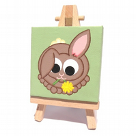 Hungry Rabbit Mini Painting - original acrylic art of a cute cartoon bunny