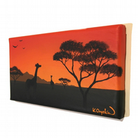 Small African Sunset Painting - original acrylic art with giraffe silhouette