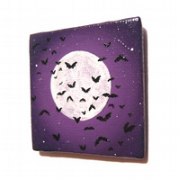 Moonlit Bats Fridge Magnet - small acrylic painting of full moon with bats