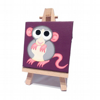 Cute Dumbo Rat Mini Art - small acrylic painting of cartoon fancy rat