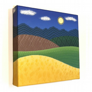 Patterned Hills Original Art - acrylic canvas painting of a countryside scene