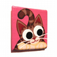 Tabby Cat Fridge Magnet - small original acrylic art with cartoon cat