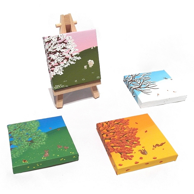 Changing Seasons Miniature Art - 4 original seasonal paintings with mini easel