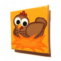 Cute Chicken Fridge Magnet - small original artwork of a cartoon hen