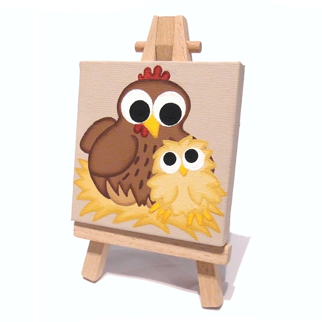 Chicken and Chick Mini Canvas - cute mother and baby acrylic painting