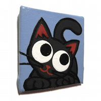 Cute Black Cat Fridge Magnet - small original acrylic painting of cartoon cat