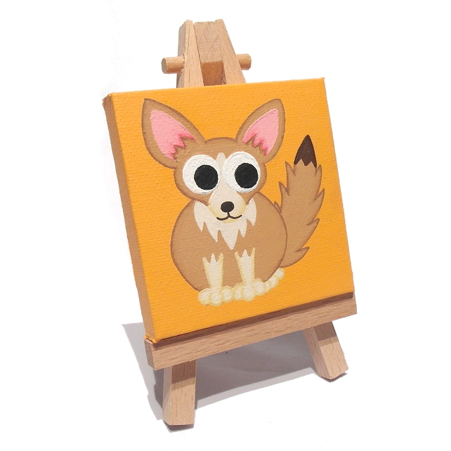 Fennec Fox Miniature Painting - original mini canvas of cute desert animal