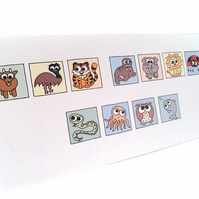 Cryptic Get Well Soon Card - cute animals spell out message. CT-YGW