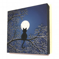 Moonlit Cat Original Painting - silhouette art of cat in a snow covered tree