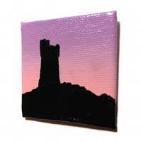 Castle Hill at Dawn Magnet - small original painting of Huddersfield landmark