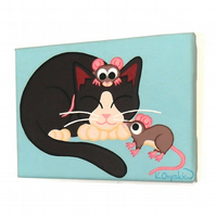 Sleeping Cat and Mice Small Painting - original acrylic art of cute animals