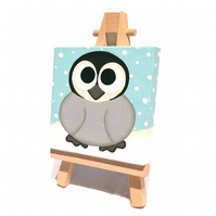 Baby Penguin Mini Art - miniature painting of a cute little penguin