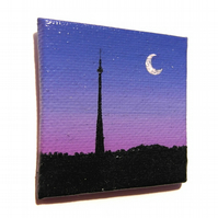 Emley Moor Tower at Dusk Magnet - original Huddersfield landscape mini art