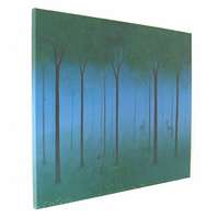 Woodland Scene Original Painting - acrylic art of a summer forest