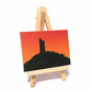 Caste Hill at Sunset Original Mini Art - Huddersfield landscape miniature canvas