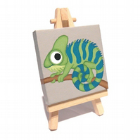 Cute Chameleon Mini Painting - original acrylic reptile art on miniature canvas