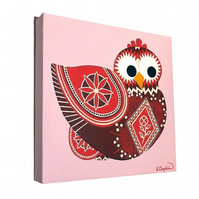 Pysanky Chicken Original Art - pink and red acrylic painting of decorated hen