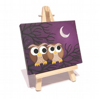 Cute Owls Mini Art - small original acrylic painting of cartoon brown owls