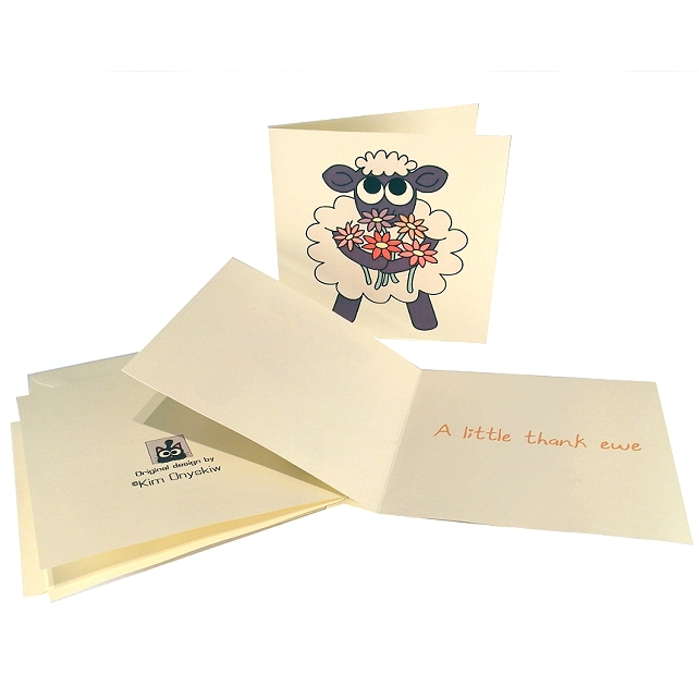 Set of 4 Thank Ewe Cards - cute sheep with flowers thank you card.