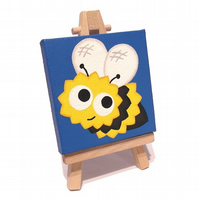 Cute Bumblebee Mini Canvas - original acrylic cartoon bee painting