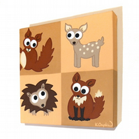 Woodland Animals Nursery Artwork - cute squirrel, fawn, hedgehog and fox art