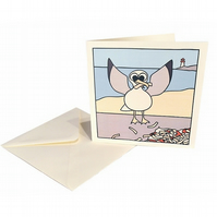 Happy Birdy Birthday Card - seaside card of a seagull with chips. CQ-SG
