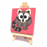 Cute Raccoon Miniature Painting - acrylic mini canvas with easel