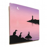 Dawn Seascape Magnet - original handpainted lighthouse scene