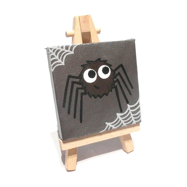 Cute Spider Miniature Painting - original acrylic cartoon art on mini canvas