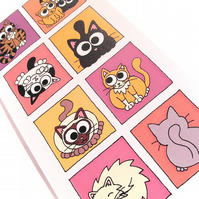 Cute Cats Card - blank inside. Cartoon kitties in pink and orange boxes. CT-CSW